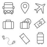 Insieme dell'icona di viaggio e di trasporto fotografie stock libere da diritti