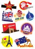 Insieme dell'icona di viaggio intorno al mondo Immagini Stock Libere da Diritti
