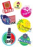 Insieme dell'icona di viaggio intorno al mondo Fotografie Stock
