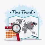 Insieme dell'icona di viaggio Tempo di viaggiare progettazione Grafico di vettore Fotografia Stock Libera da Diritti