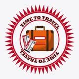 Insieme dell'icona di viaggio Tempo di viaggiare progettazione Grafico di vettore Immagini Stock