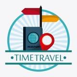 Insieme dell'icona di viaggio Tempo di viaggiare progettazione Grafico di vettore Fotografie Stock Libere da Diritti