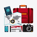 Insieme dell'icona di viaggio Tempo di viaggiare progettazione Grafico di vettore Immagine Stock