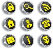 Insieme dell'icona di Web del calcolatore del metallo Fotografia Stock Libera da Diritti