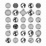 Insieme dell'icona di web del globo Icone del pianeta Terra per i siti Web illustrazione di stock