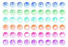 Insieme dell'icona di web dell'acquerello, vettore Fotografia Stock