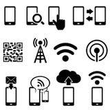 Insieme dell'icona di wifi e del cellulare Fotografia Stock