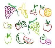 Insieme dell'icona disegnata a mano della frutta Immagini Stock
