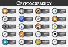 Insieme dell'icona e dell'etichetta di cryptocurrency con valore Vettore Fotografia Stock
