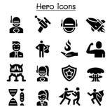 Insieme dell'icona dell'eroe illustrazione di stock