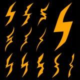 Insieme dell'icona geometrica del fulmine Fotografie Stock Libere da Diritti