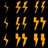 Insieme dell'icona gialla del fulmine Fotografia Stock
