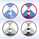 Insieme dell'icona luminosa del faro, illustrazione di vettore Fotografia Stock Libera da Diritti