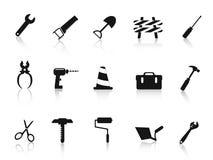 Insieme dell'icona nera dell'utensile manuale della costruzione Fotografia Stock Libera da Diritti