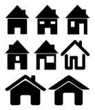 Insieme dell'icona nera della casa di web, simbolo Illustrazione di vettore su priorità bassa bianca Fotografia Stock