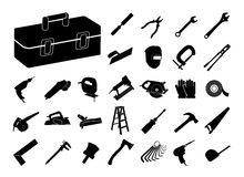 Insieme dell'icona nera dello strumento illustrazione di stock