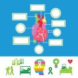 Insieme dell'icona dell'ospedale di sistema del cuore fotografia stock