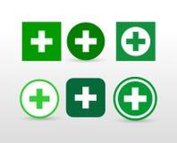 Insieme dell'icona trasversale verde Illustrazione di vettore Isolato su priorità bassa bianca Immagini Stock Libere da Diritti