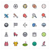 Insieme dell'icona - vettore del colpo del profilo di colore pieno di attività e di sport royalty illustrazione gratis