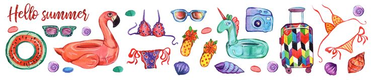 Insieme dell'illustrazione dell'acquerello Elementi della decorazione swimming Ciao insieme dell'icona del modello del partito di illustrazione di stock