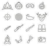 Insieme dell'illustrazione cercare o di caccia o di Hunter Icons Thin Line Vector Immagini Stock Libere da Diritti