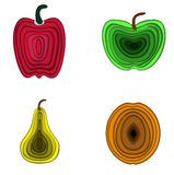 Insieme dell'illustrazione 3d di vettore dei frutti Pera, mela, paprica ed albicocca fatte nello stile di carta di three-dementio Fotografie Stock