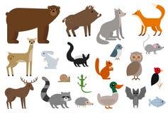 Insieme dell'illustrazione degli animali selvatici Fotografia Stock
