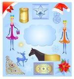 Insieme dell'illustrazione degli elementi di Natale Fotografie Stock Libere da Diritti
