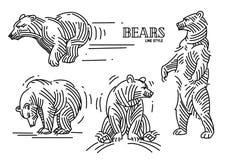 Insieme dell'illustrazione degli orsi illustrazione vettoriale