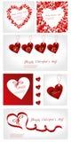 Insieme dell'illustrazione dei biglietti di S. Valentino Fotografie Stock