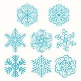 Insieme dell'illustrazione dei fiocchi di neve Fotografia Stock Libera da Diritti