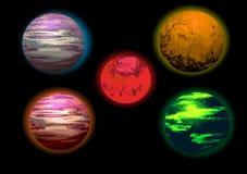 Insieme dell'illustrazione dei pianeti Fotografia Stock Libera da Diritti