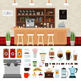 Insieme dell'illustrazione del caffè con il fondo dell'interno del negozio Immagine Stock Libera da Diritti
