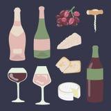 Insieme dell'illustrazione del disegno della mano del formaggio e del vino royalty illustrazione gratis