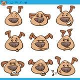 Insieme dell'illustrazione del fumetto degli emoticon del cane Fotografia Stock