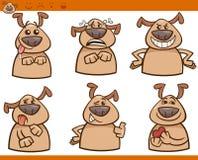 Insieme dell'illustrazione del fumetto di emozioni del cane Immagine Stock