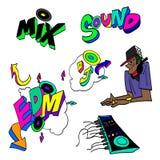 Insieme dell'illustrazione del fumetto di vettore dei graffiti di scarabocchio del miscelatore del DJ illustrazione vettoriale