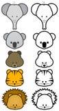 Insieme dell'illustrazione del fumetto selvaggio o degli animali del giardino zoologico. Immagine Stock Libera da Diritti