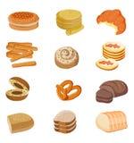 Insieme dell'illustrazione del pane Illustrazione dell'alimento di vettore Fotografia Stock
