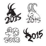 Insieme dell'illustrazione della capra cinese del nuovo anno Immagine Stock Libera da Diritti