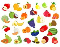 Insieme dell'illustrazione della frutta Icone della frutta illustrazione vettoriale