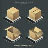 Insieme dell'illustrazione della scatola di cartone isometrica scura Fotografia Stock