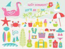 Insieme dell'illustrazione della spiaggia di estate, illustrazione di vettore Immagine Stock