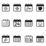 Insieme dell'illustrazione delle icone del calendario Fotografia Stock