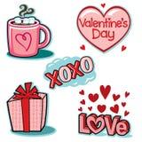 Insieme dell'illustrazione delle icone di amore di giorno di biglietti di S. Valentino Immagine Stock