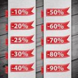 Insieme dell'illustrazione delle percentuali di sconto Fotografia Stock