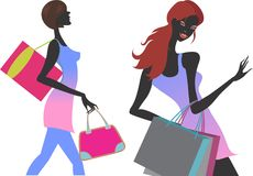 Insieme dell'illustrazione delle ragazze di acquisto di modo fotografia stock libera da diritti