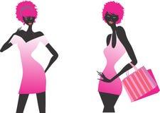 Insieme dell'illustrazione delle ragazze di acquisto di modo immagini stock libere da diritti