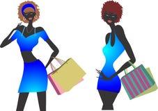 Insieme dell'illustrazione delle ragazze di acquisto di modo immagini stock