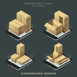 Insieme dell'illustrazione delle scatole di cartone isometriche scure Fotografia Stock